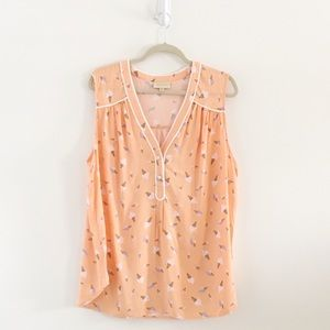 ModCloth Ice Cream Print Henley Sleeveless Blouse